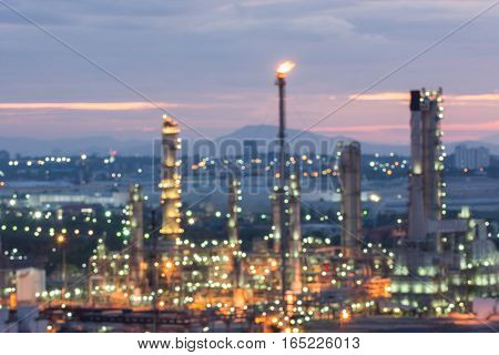 Oil and gas refinery at twilight time Blurred Photo bokeh.