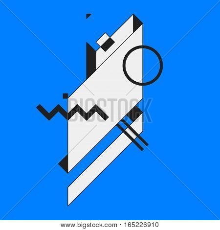 Abstract Geometric Element On Blue Background. Useful As Cd Cover, Print Or Poster.