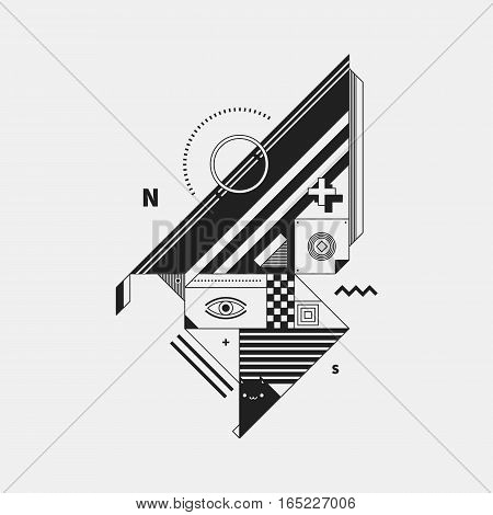 Abstract Monochrome Creature On White Background. Style Of Cubism And Constructivism. Useful For Pri