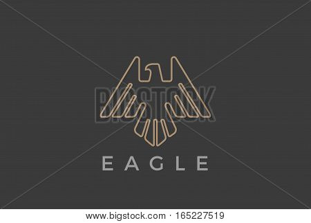 Eagle Bird flying Logo design vector template Linear luxury heraldic style. Falcon Hawk soaring outline Logotype icon.