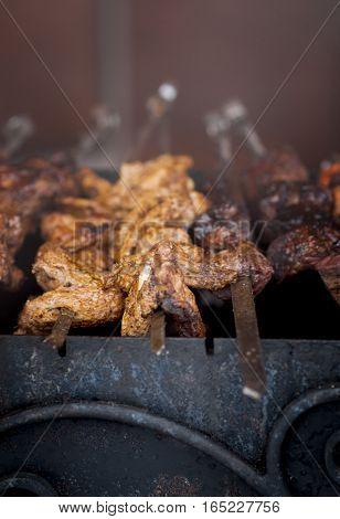 pork shish kebab in smoke on the grill