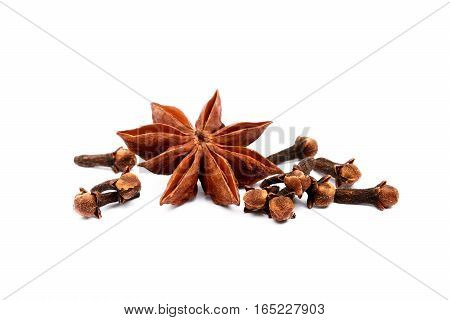 Aromatic star anise isolated on white background