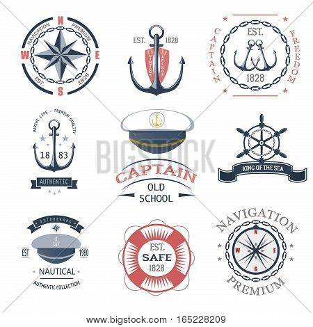 Set of vintage nautical labels icons and design elements vector. Vintage vector sea anchor rope ribbon design. Premium quality nautical insignia element.