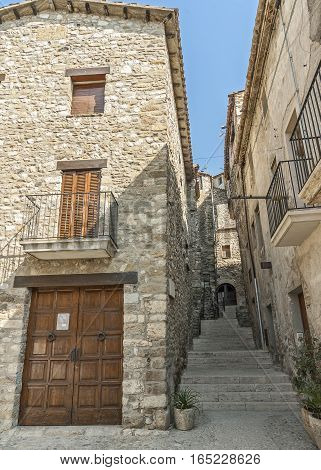 Spain Catalonia Girona Besalu. The first mention of the castle Besalu around which the town was formed refer to the X century . The stone streets of the ancient city.