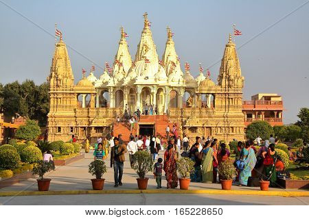 GONDAL, GUJARAT, INDIA - DECEMBER 23, 2013: Swaminarayan temple