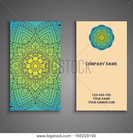 Invitation, Business Card Or Banner With Text Template. Round Floral Vector Ornament. Lace. National