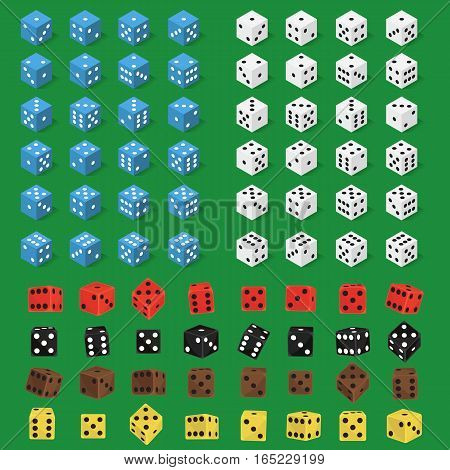 Set of isometric dice number lucky symbol. Game fortune casino variants loss vector illustration. Gamble cube opportunity chance risk tool.