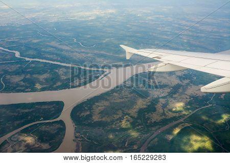 Rio Parana de las Palmas view from aerial (argentina)