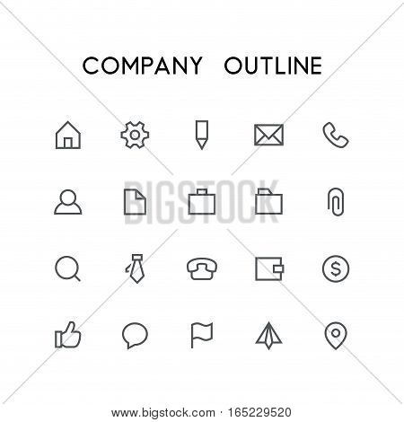 Company outline icon set - home, pinion, pencil, file, phone, chat, mail, folder, briefcase, paper clip, money, wallet, flag, address and others simple vector symbols. Business and contacts signs.