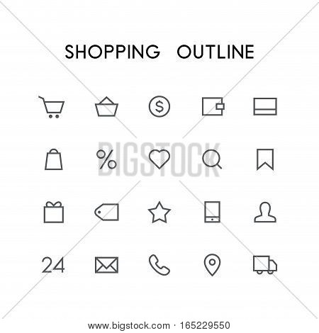 Shopping outline icon set - cart, basket, money, wallet, credit card, heart, search, favorites, gift, price, phone, mail, car and others simple vector symbols. Internet store and shop signs.