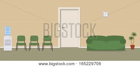 Waiting hall in a beige color. Corridor. There are green chairs, a water cooler, a sofa near the door in the picture. Vector flat illustration.