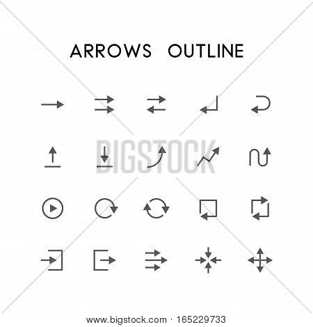 Arrow outline icon set - different arrows, enter, back, upload, download, graph, refresh, log in, log out, zoom, move and others simple vector symbols. Website and design signs.