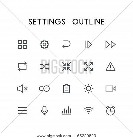 Settings outline icon set - menu, pinion, next, reload, zoom, attention, mute, switch, battery, video, microphone, wi fi, clock and others simple vector symbols. Internet and technology signs. poster