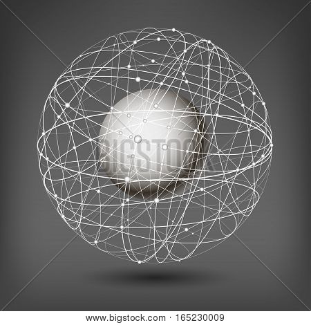 Vector illustration on the theme of physics; atomic nucleus; energy. White ball inside the structure of curve intersecting lines in the form of spheres on a dark background.
