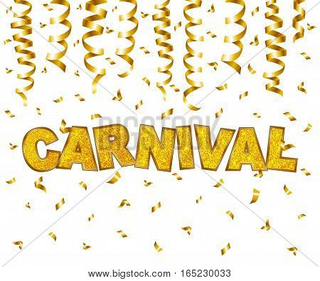 Carnival type gold glitter texture with serpentine and confetti isolated on white background. Vector illustration.
