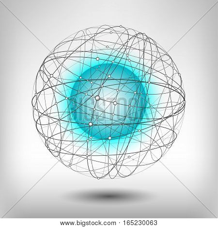 Vector illustration on the theme of physics atomic nucleus energy. Glowing blue neon ball inside the structure of curve intersecting lines in shape of sphere.