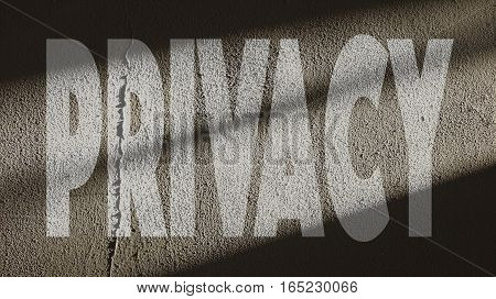 Privacy Written on a Repaired Concrete Cracked Wall with Gate Shadow