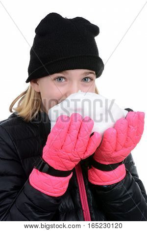 young girl biting a piece of snow