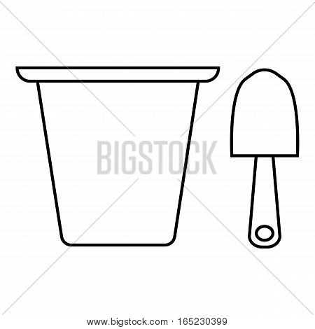 Pail and shovel icon. Outline illustration of pail and shovel vector icon for web