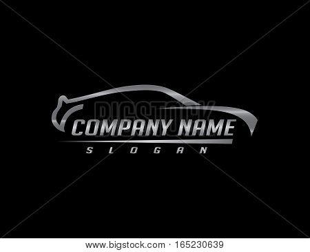 sport Car silver logo on black background