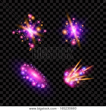 Transparent sparkling light effects and flares. Glittering galaxy and comet design. Fall stars in space, space fantasy science. Vector illustration