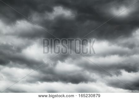 Black clouds in the sky before raining