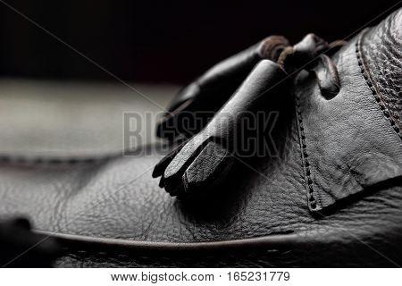 Men's Loafer Shoes.closeup.advertising Shot.leather Shoes.selective Focus.concept Closeup Shoes