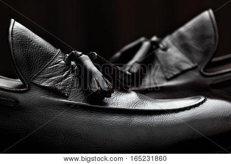 Men's Loafer Shoes.closeup.advertising Shot.leather Shoes.concept Closeup Shoes