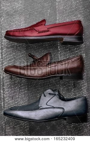 Men's Leather Shoes Loafers, Penny Loafers, Derby Shoes - Multi Colored Red, Grey, Brown.top View