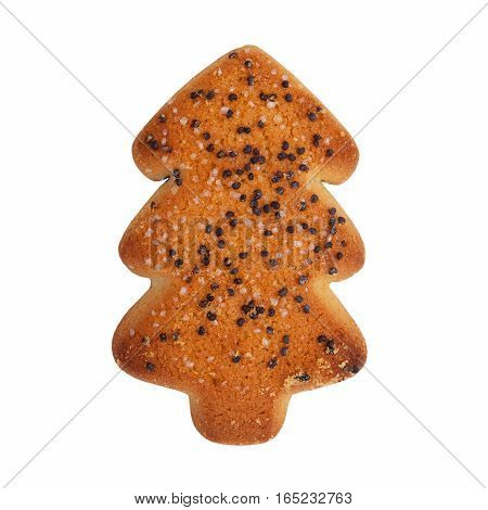 Cookies in the form of Christmas tree on a white background