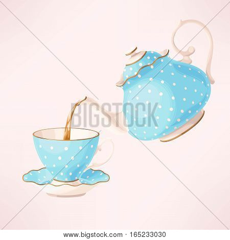 Vector illustration of porcelain teapot and cup