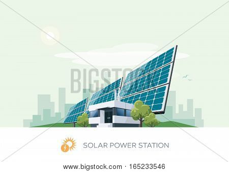 Vector illustration of solar power station building icon with sun and urban city skyscrapers skyline on green turquoise background.