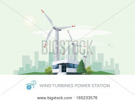 Vector illustration of wind turbines power station building icon with sun and urban city skyscrapers skyline on green turquoise background.