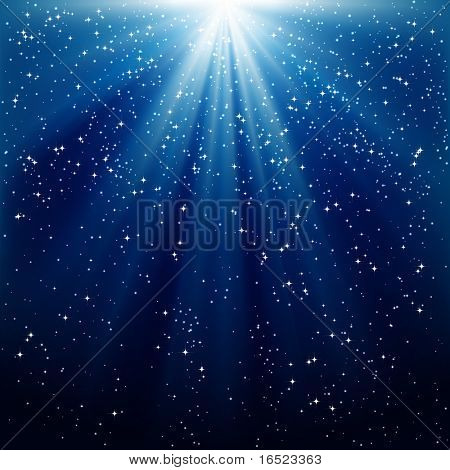 Snow and stars are falling on the background of blue luminous rays