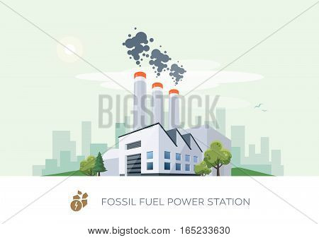 Vector illustration of fossil fuel power station factory icon with sun and urban city skyscrapers skyline on green turquoise background.