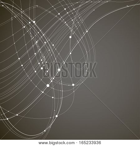 Abstract vector background. White rounded curves intersecting lines with rounded points at the intersections on a black background. Subject of technology molecular physics data transmission.