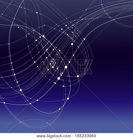 Abstract vector background. White rounded curves intersecting lines with rounded points at the intersections on a gradient blue background. Subject of astronomy space starry sky the Milky Way
