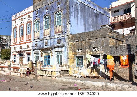 DIU, INDIA - JANUARY 7, 2014: Old portuguese colonial buildings in Diu Island