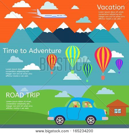Colorful vector flat banners set. Quality design illustrations, elements and concept. Flying airplane. Car. Illustration