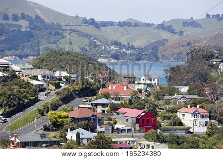 The view of Port Chalmers houses the suburb of Dunedin city.
