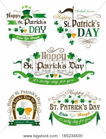 Set of Patrick's Day typographic elements with clovers
