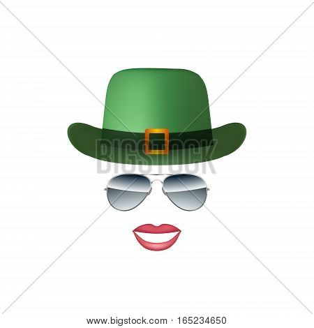Hat Glasses and lips isolated on white background vector illustration
