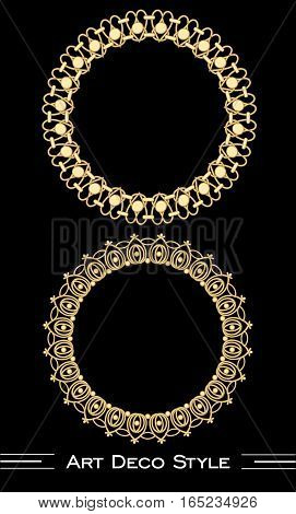 Elegant antiquarian golden circle frames in art deco style, 3d illusion in filigree ornament, eps10 vector