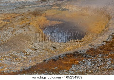 colorful geothermal hot springs in Yellowstone National park Wyoming