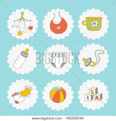 Baby icons set. Cute baby things on a blue background.