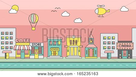 Seamless pattern of the buildings. Background for game. Cityscape. Day