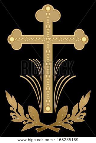 Luxurious funereal decoration, golden cross with flourish motif on black background. Christian burial symbol. Vector eps10