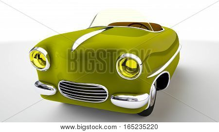 Funny yellow toy car cabriolet . 3D render
