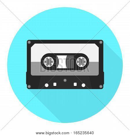 Vector audio cassette icon. Audiotape flat icon.