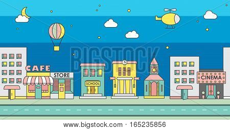 Seamless pattern of the buildings. Background for game. Night.